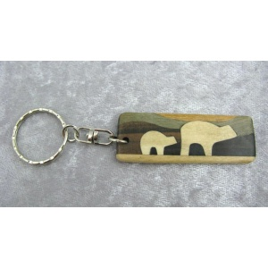 Bear Country Wooden Keychain