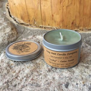 """Lucky"" Cedar Forest Tin Candle"