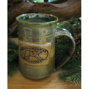 North American Bear Center Tall Earth Toned Pottery Mug