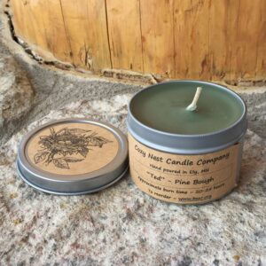 """Ted"" Pine Bough Tin Candle"