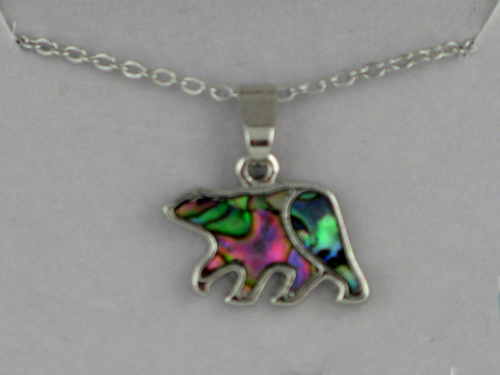 Small Abalone Bear Necklace