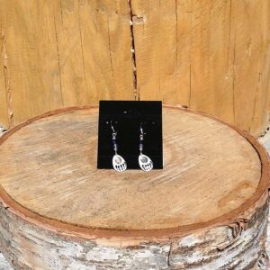 Inlay Bone Bear Paw Earring