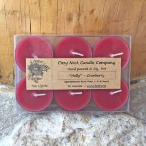Holly Cranberry Tealight Candles