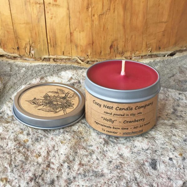 Holly Cranberry Tin Candle