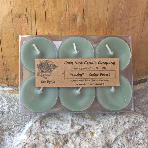 Lucky Cedar Tealight Candles