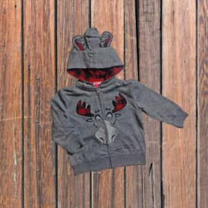 Plaid Moose Full Zip (Toddler)
