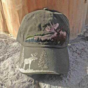 Embroidered Moose Cap Olive