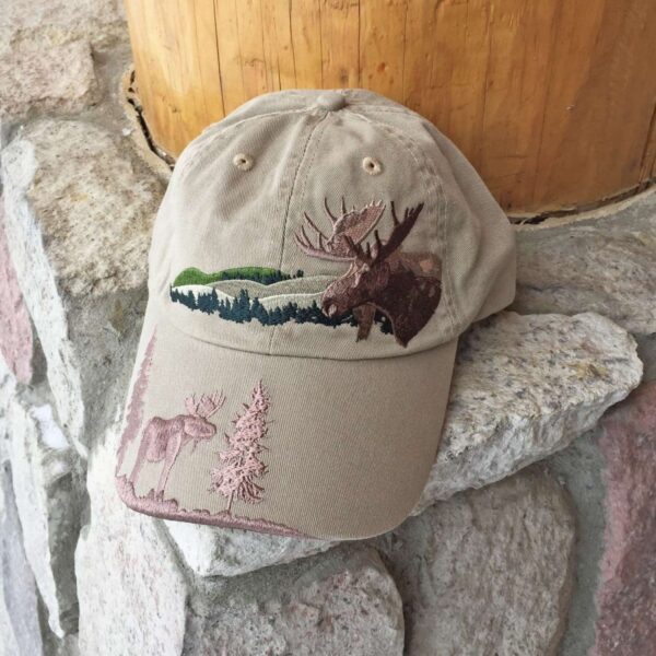 Embroidered Moose Cap Khaki
