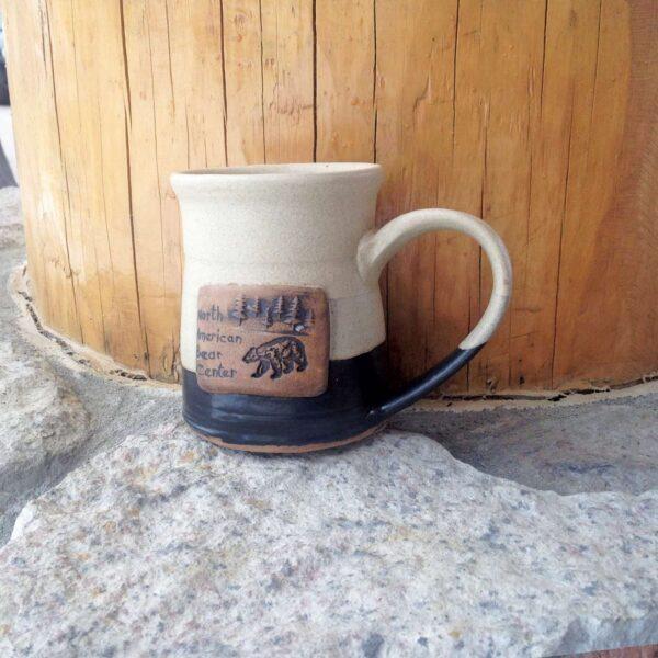 Pottery Mug Black & White Bear w/ Tree