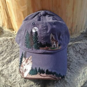 Embroidered Wolf Cap Blue