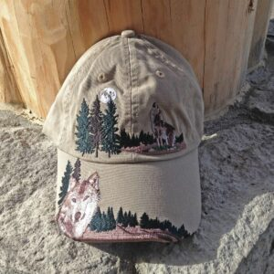 Embroidered Wolf Cap Khaki