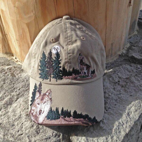 Embroidered Wolf Cap Khaki
