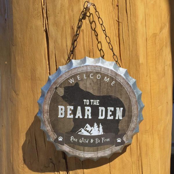 Bottle Cap Bear Sign