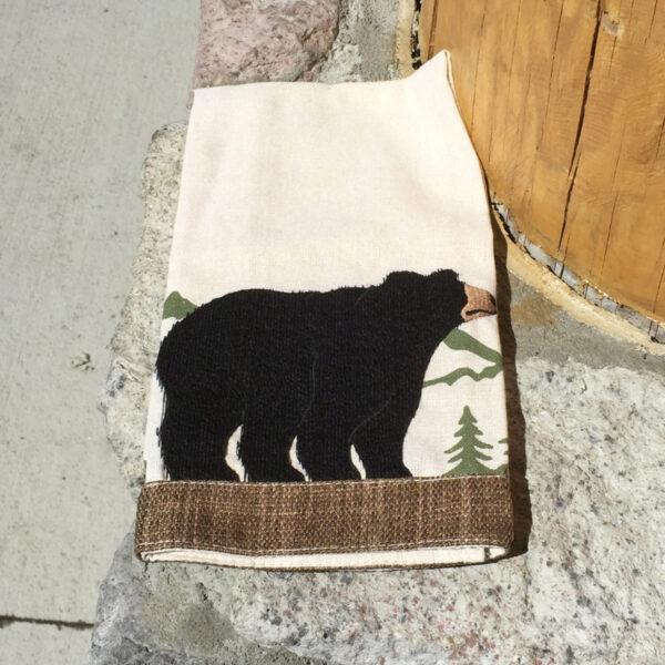 Black Bear Applique Kitchen Towel