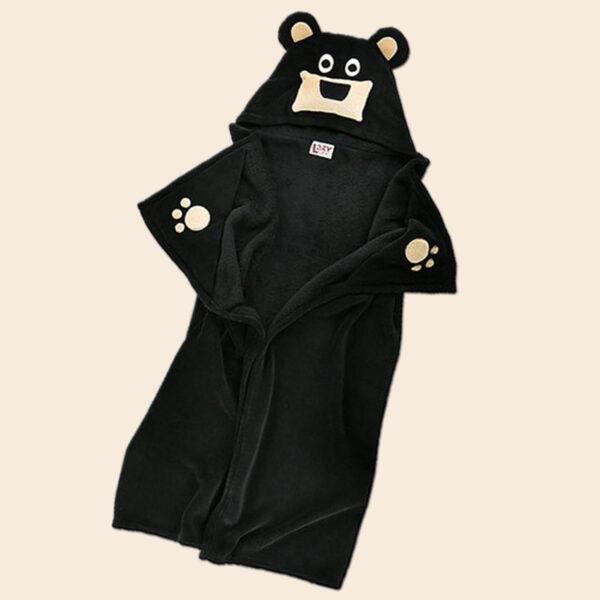 Black Bear Hooded Blanket
