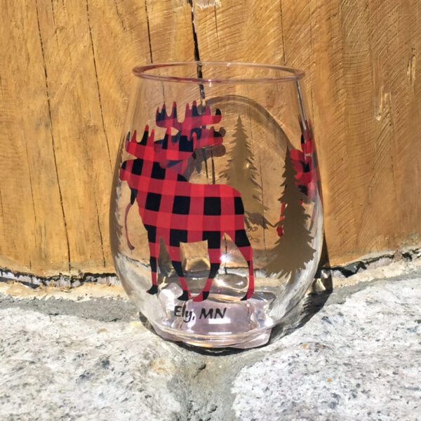 Plaid Moose Wine Tumbler