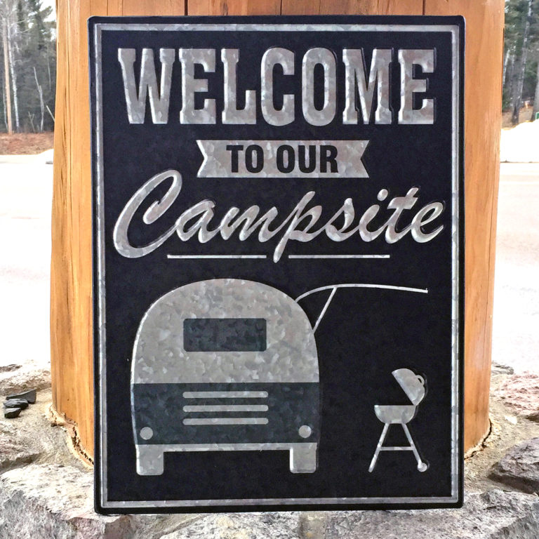Welcome to Our Campsite Tin Sign