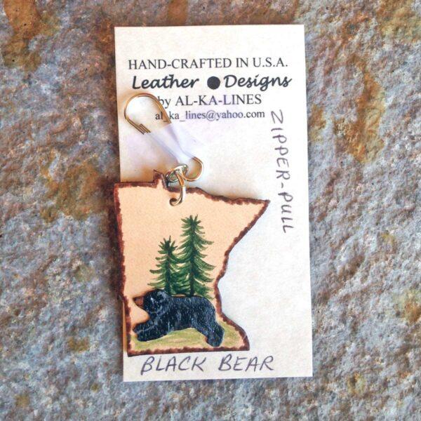 Leather Zipper Pull: Black Bear