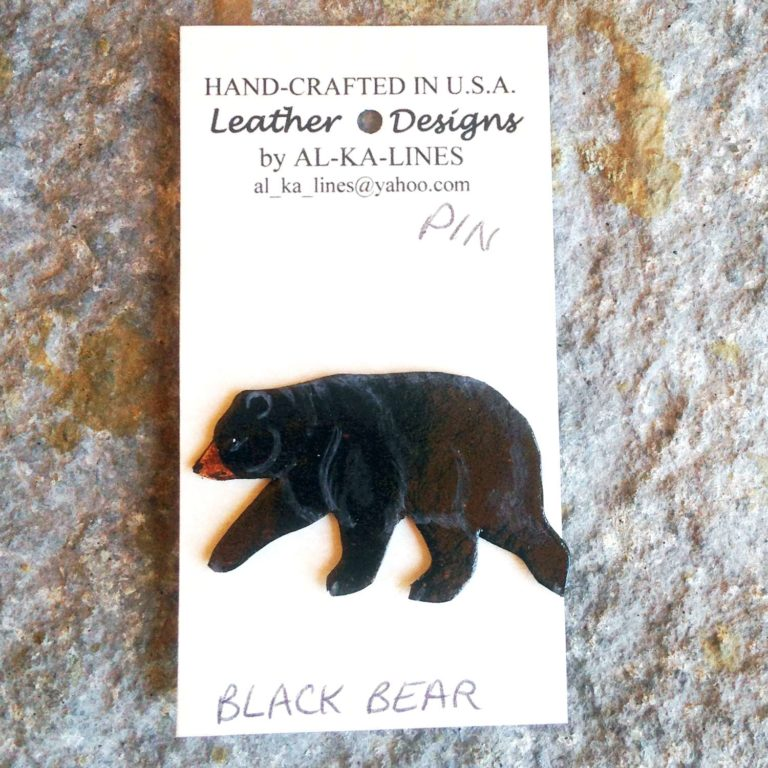 Leather Lapel Pin: Black Bear