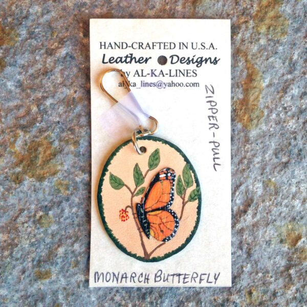Leather Zipper Pull: Leather Monarch