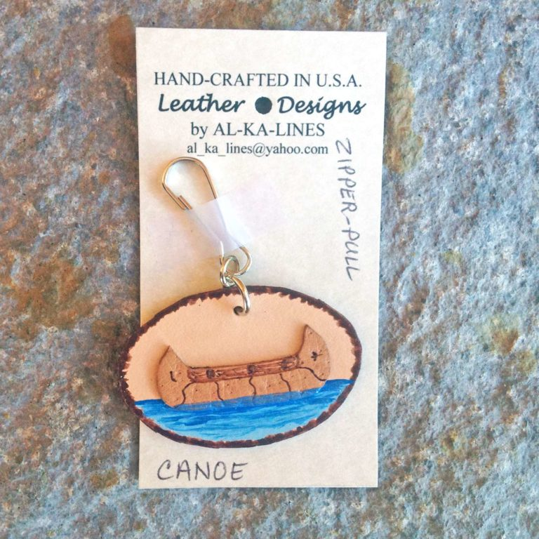 Leather Zipper Pull: Canoe