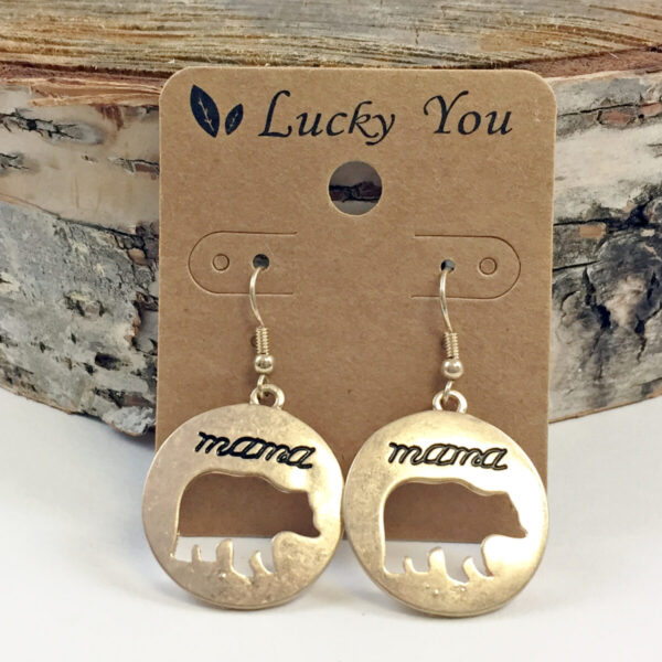 Cutout Mama Bear Metal Earrings