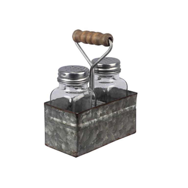 Tin Bucket Salt & Pepper Holder