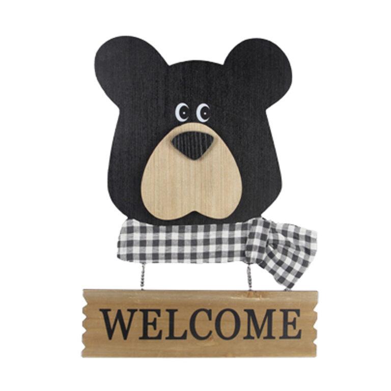 Wood Bear Head Cutout Sign